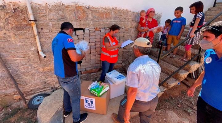Bodrum'da yangınlardan etkilenen yurttaşlara ihtiyaç paketleri teslim edilmeye başlandı