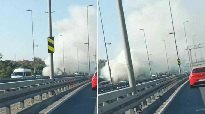 Boğaziçi Köprüsü yakınındaki ağaçlık alanda yangın