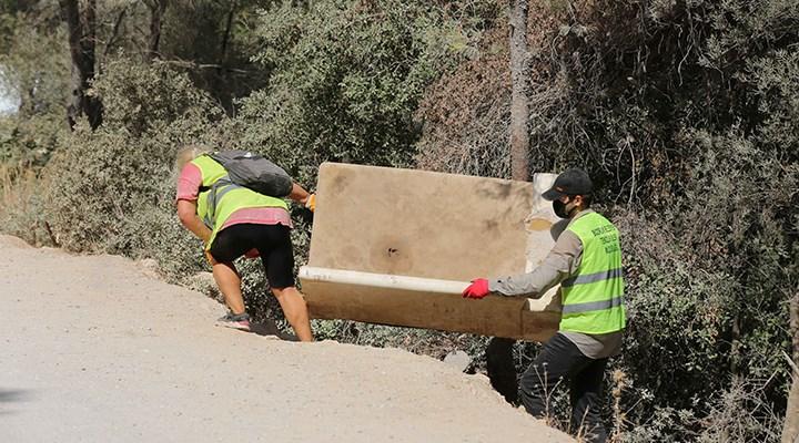 Cennet Koyu'nda temizlik: 85 çuval çöp ve bir koltuk çıktı