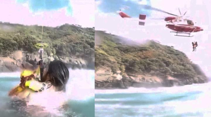 İtalya'da boğulmak üzere olan genç, helikopterle kurtarıldı