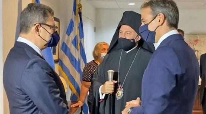 Yunanistan Başbakanı Miçotakis, Türkevi açılışına katılan Başepiskopos Elpidoforos ile görüştü