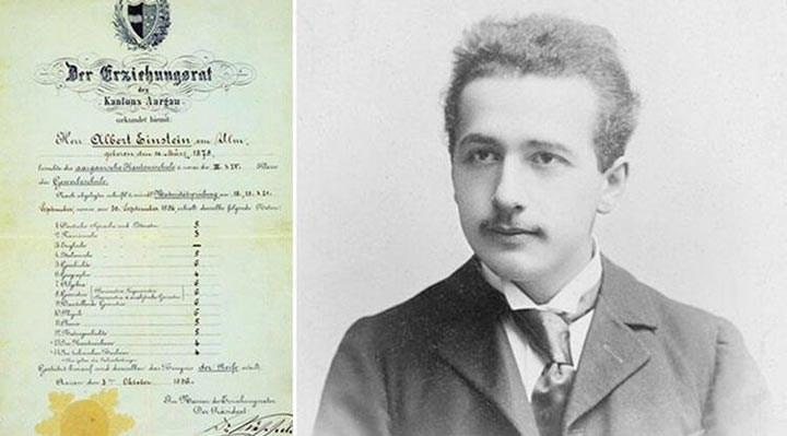 Einstein'ın lise karnesi paylaşıldı: Matematikte 'sürpriz' başarı