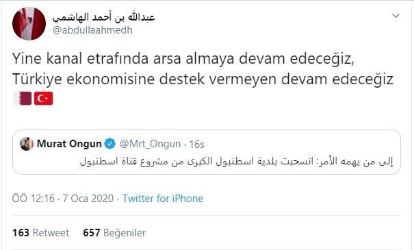 ibb-sozcusu-nun-arapca-kanal-istanbul-tweetine-katar-dan-yanit-671897-1.