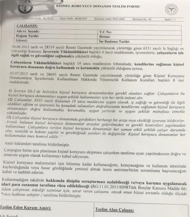 Sağlık çalışanlarına imzalatılmak istenen form.