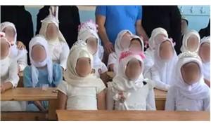 İlkokul öğrencilerine 'gelinlik' giydirdiler