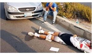 Şampiyon bisikletçiye otomobil çarptı!