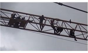 TOKİ inşaatında taşeron işçiler kule vincini işgal etti