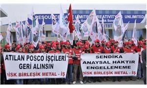 Sendikaya üye oldukları için işten atılan işçiler için eylem