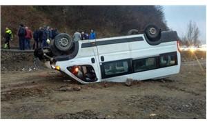 Madencileri taşıyan minibüs kaza yaptı: Çok sayıda yaralı var