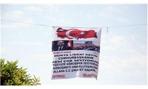Erdoğan pankartı polis alarma geçti