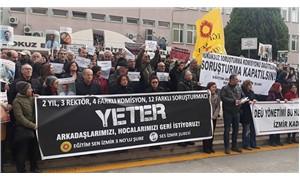 DEÜ Rektörlüğü önünde protesto