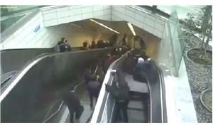 Yürüyen merdivenin çökme anı kamerada