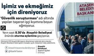 Kadroya alınmayan Ataşehir Belediyesi taşeron işçilerinden oturma eylemi