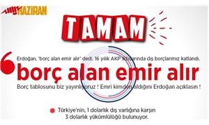 HAZİRAN: Borç tablosunu yayınlıyoruz, Erdoğan açıklasın