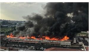 Veliefendi Hipodromu yanında bulunan fabrikada yangın