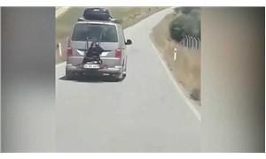 Minibüsün arkasına bağlı yolculukta sürücüye gözaltı