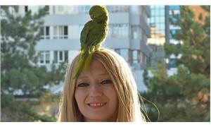 Başında kuşunu gezdirerek para kazanan kadına zabıta engeli