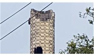 Dolu yağışında caminin minaresi yıkıldı