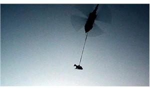 Gebe inek helikopter ile kurtarıldı