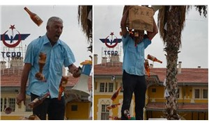 Sattığı zeytinyağının parasını alamayan pazarcıdan protesto