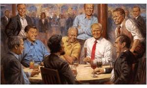 Trump, kendini eski başkanlarla aynı masada gösteren tabloyu Beyaz Saray'a astırdı