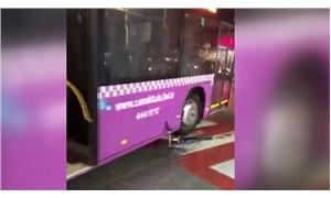 Otobüs şoförü tartıştığı kişinin bisikletini ezdi