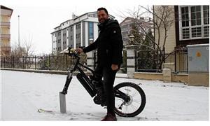 Bisikletini elektrikli kızağa dönüştürdü