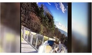Freni patlayan kamyon, su parkına böyle uçtu