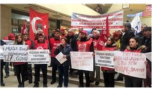 Sendikalı oldukları için işten çıkartılan işçilerden protesto