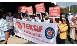 Bursa'da maaşlarını ve tazminatlarını alamayan Slam Tekstil işçileri eylem yaptı