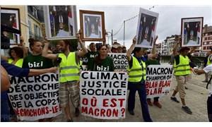 Macron'un portresini ters çevirenlere hapis istemi
