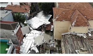 Maltepe'de okulun çatısı uçtu, 6 araç hasar gördü