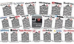 Avustralya'da gazeteler hükümete tepki olarak ilk sayfalarını kararttı