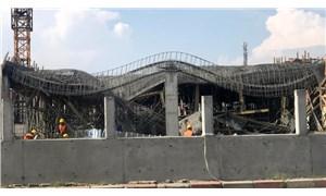 Yapımı devam eden hastanenin ek bina inşaatı çöktü