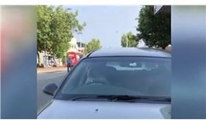 Arabada sıkılan köpek araç sahibini kornaya basarak çağırdı