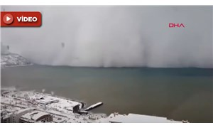 Artvin Hopa'da denizden gelen kar fırtınası adım adım görüntülendi