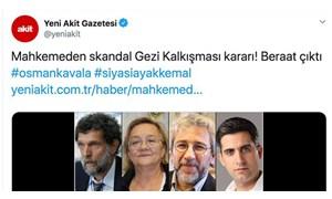 """Gerici Yeni Akit, beraat kararına """"skandal"""" dedi, sosyal medyadan tepki geldi"""