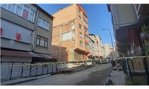 Küçükçekmece'de boşaltılan binada çökme tehlikesi