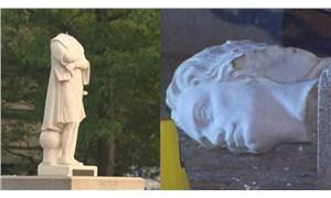 ABD'de eylemciler, Kristof Kolomb heykellerini yıktı
