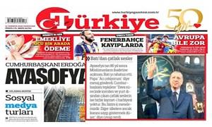 Türkiye gazetesinden Ayasofya'daki 'Hz. Muhammed' levhasına sansür