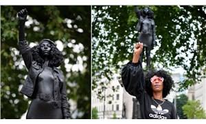 Yıkılan köle taciri heykelinin yerine Siyah Hayatlar Önemlidir protestocusu heykeli