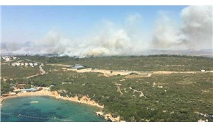 İzmir Seferihisar'da deniz gören bir noktada orman yangını