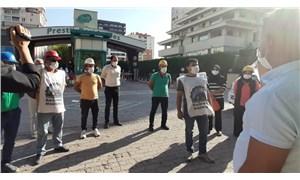 Ermenekli madencilerden işverenin evinin önünde eylem