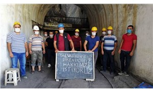 Ermenekli madenciler, patronun bez fabrikası önünde oturma eyleminde
