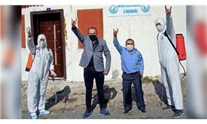 MHP'liler, İYİ Partililerin ziyaret ettiği yeri dezenfekte etti