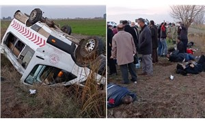 Sağlık ve askeri personeli taşıyan minibüs şarampole devrildi: 1 ölü, 7 yaralı