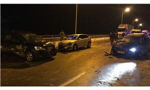 Samsun'da buzlanan viyadükte 15 araç çarpıştı: 4 yaralı