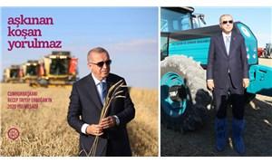Erdoğan için hazırlanan kitapta, tarlaya galoşla girdiği gün çekilen fotoğraf kullanıldı