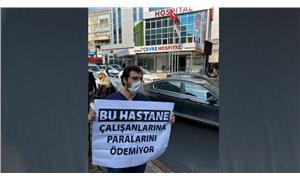 Maaşını alamayan tekniker, hastane önünde eyleme başladı