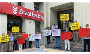 Ziraat Bankası önünde 'Demirören' eylemi